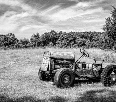 Old Tractor in Black and White