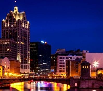Milwaukee River at night