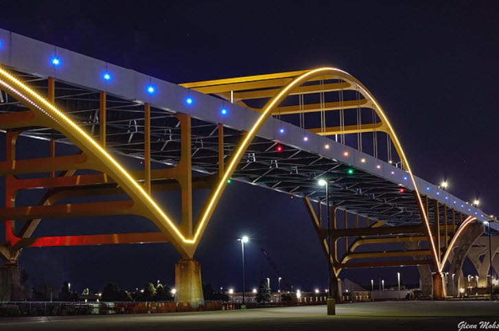Hoan Bridge at night with lights